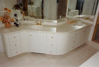 Countertop Paint For Corian : ... AFTER with Free-form Vanity (White Laquer Paint & Corian Countertops